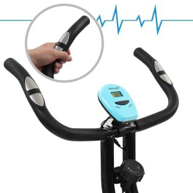 vidaXL Magnet. treniruok. dvir. su pulso mat., X rėm., juod. ir mėlyn.[7/10]