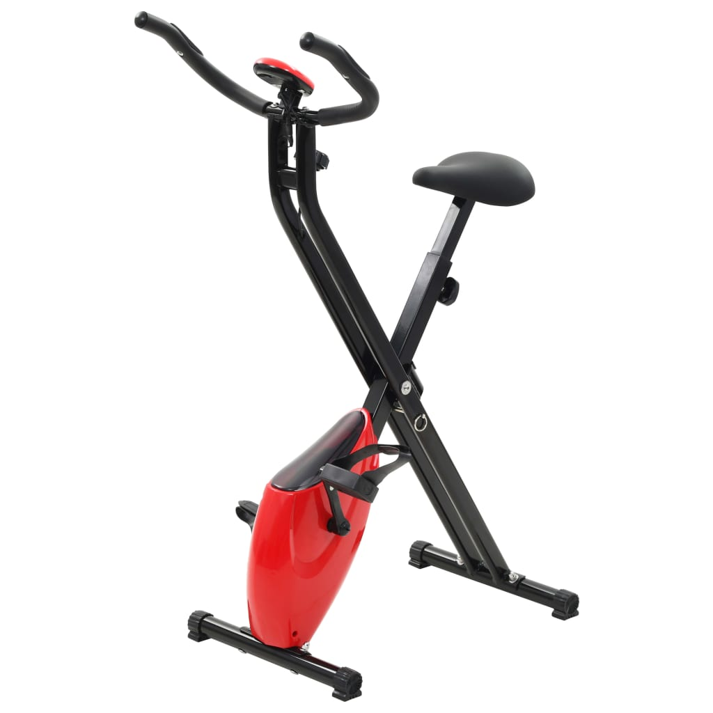 vidaXL Bicicleta X estática magnética c/ medição pulso preto vermelho
