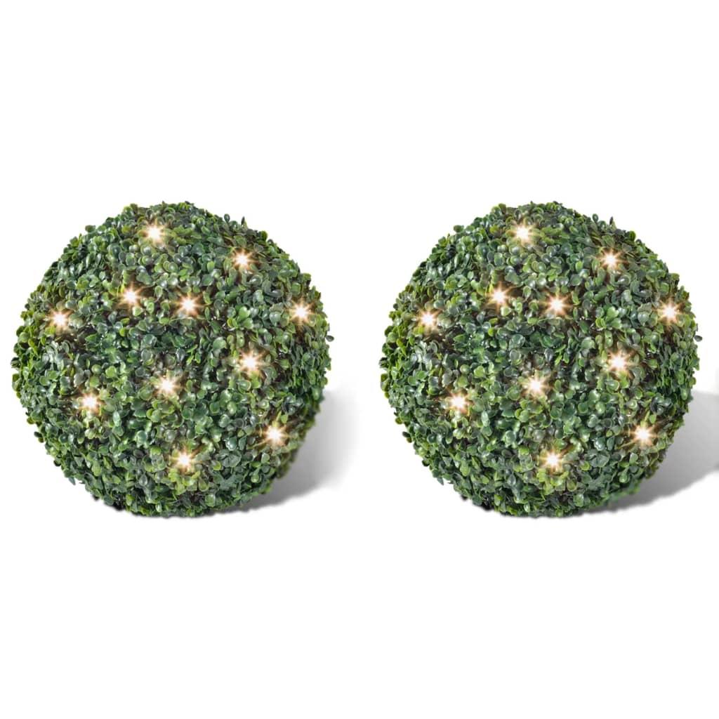 Zimostrázová koule s umělými lístky 27 cm s LED řetězem 2ks