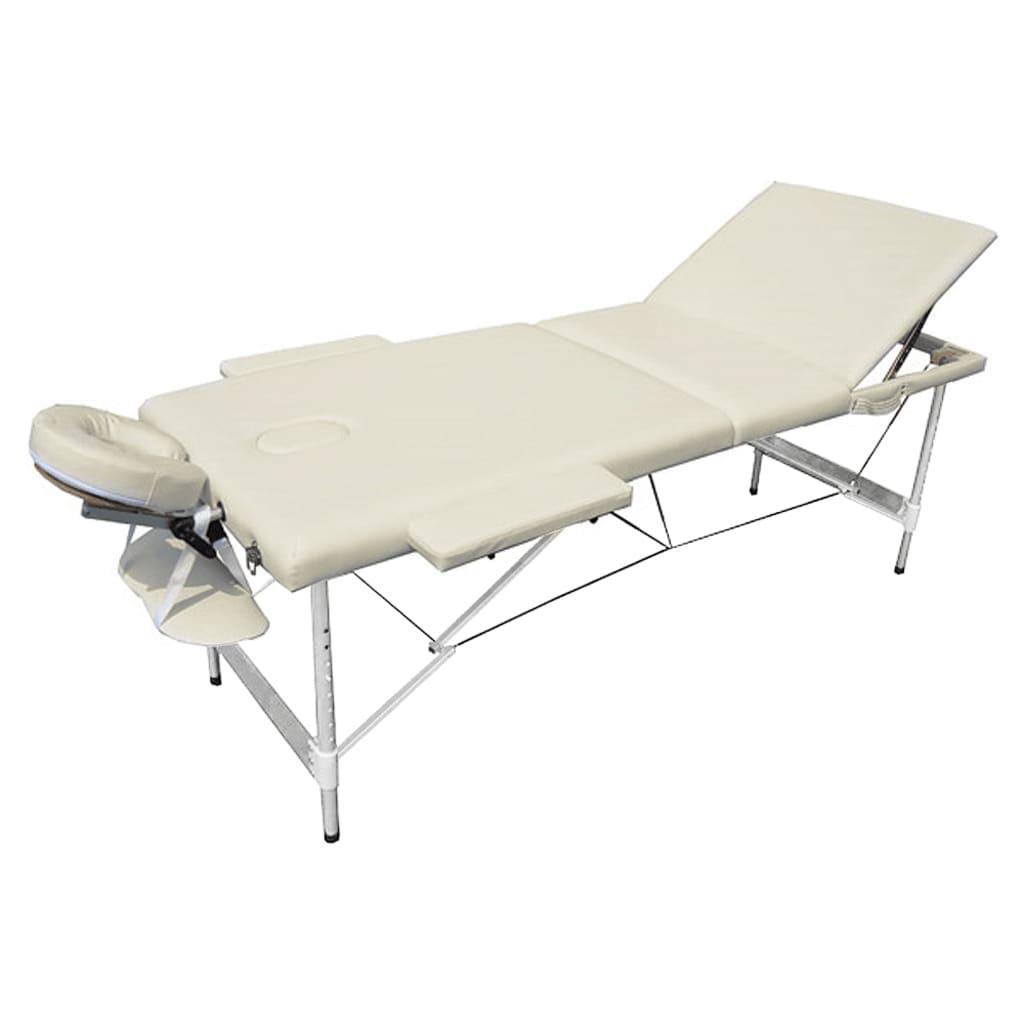 Masa de masaj pliabila, 3 parti, aluminiu, alb-crem vidaxl.ro