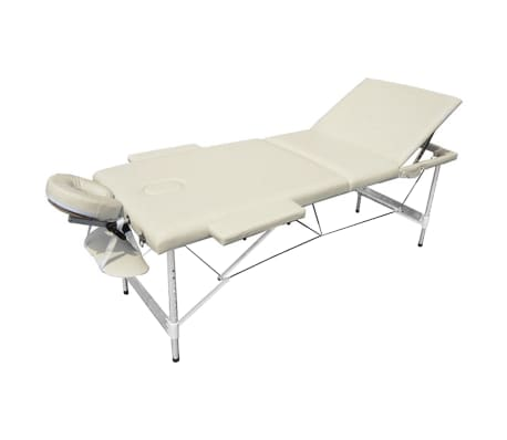 Foldable Massage Table 3 Zones Aluminium Cream White[1/6]