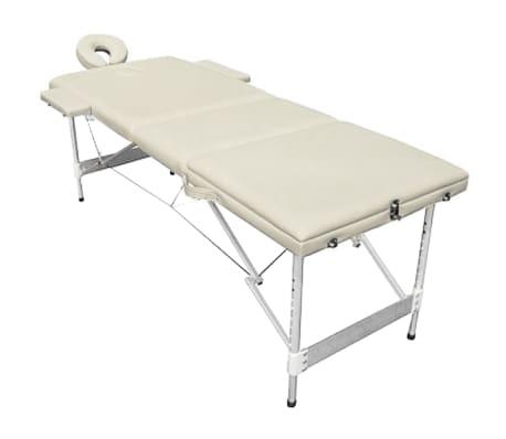 Foldable Massage Table 3 Zones Aluminium Cream White[2/6]