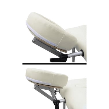 Foldable Massage Table 3 Zones Aluminium Cream White[3/6]