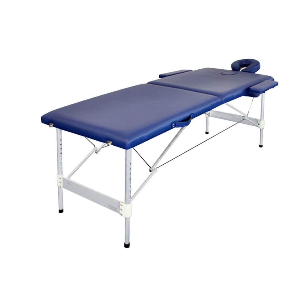 Skládací modrý hliníkový masážní stůl, 2 zóny