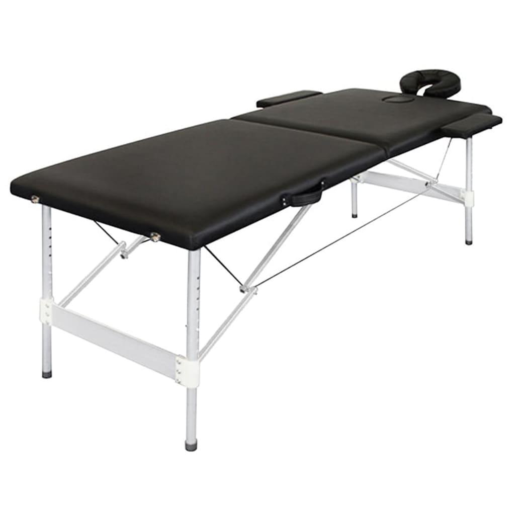 Masă de masaj din aluminiu 2 zone, pliabilă, negru vidaxl.ro