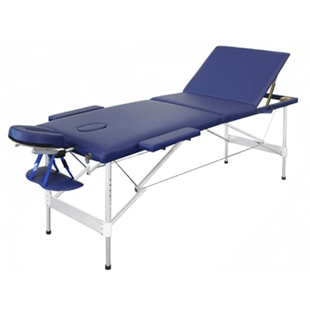 Skládací modrý hliníkový masážní stůl, 3 dílný