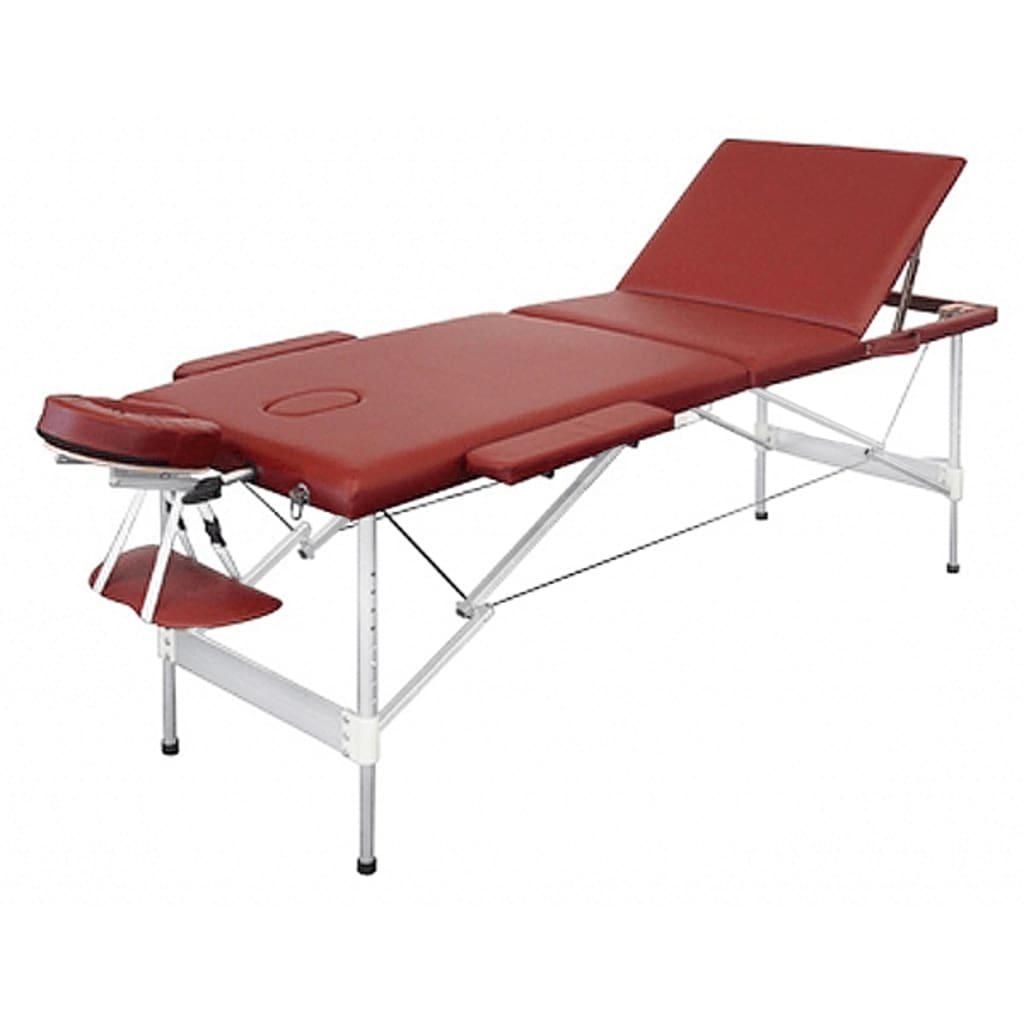 Skládací červený hliníkový masážní stůl, 3 dílný