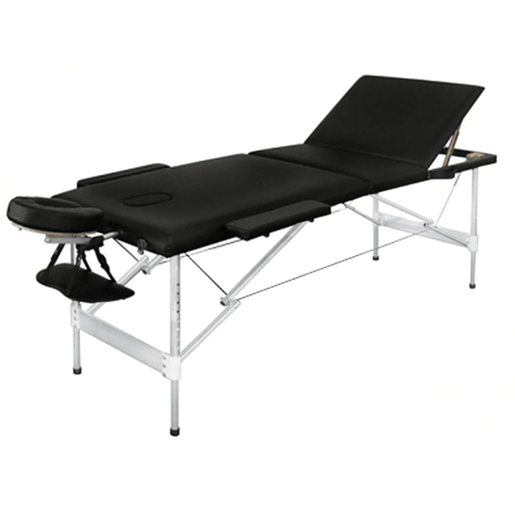 Masa de masaj pliabila, 3 parti, aluminiu, negru vidaxl.ro