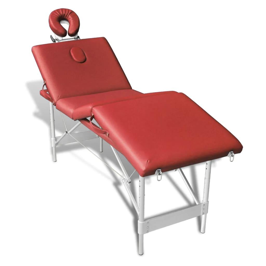 Skládací hliníkový masážní stůl 4 – zónny červený