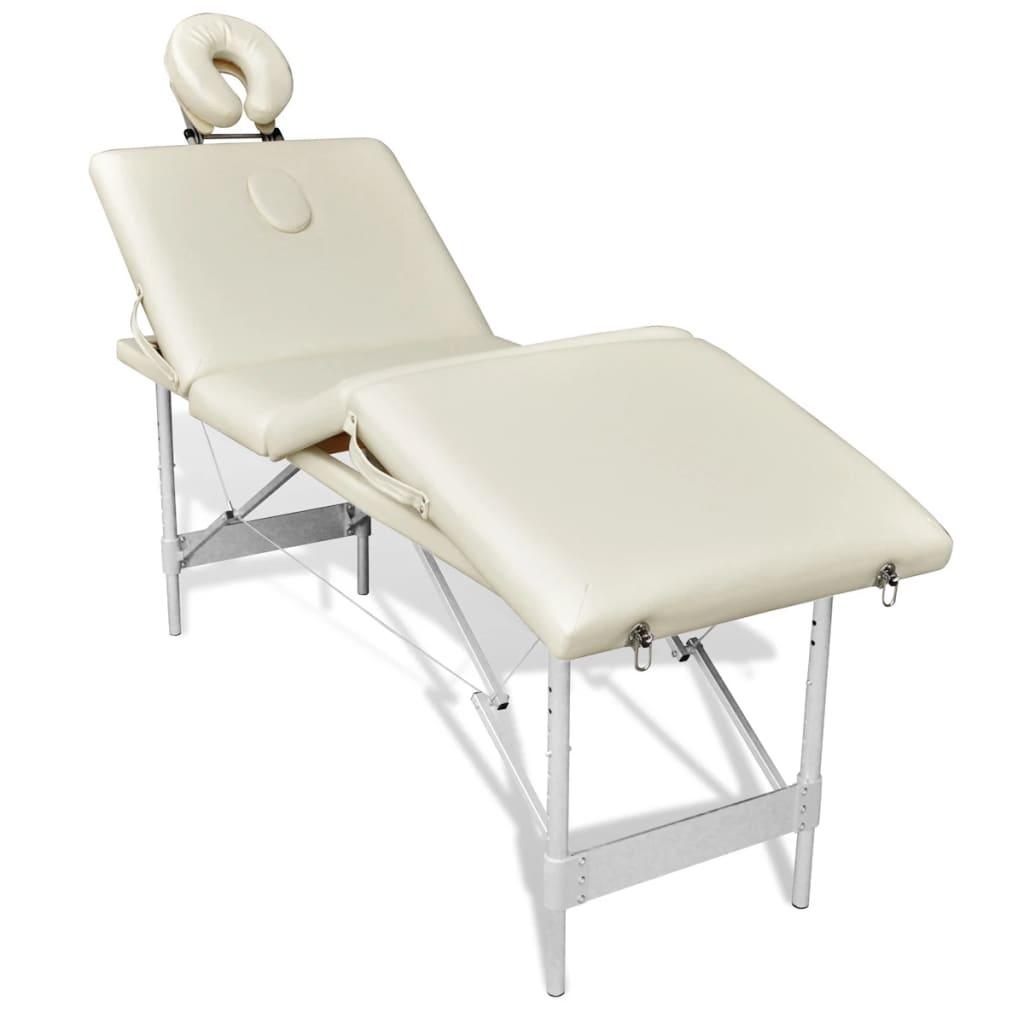 Masa masaj pliabila, 4 parti, aluminiu, alb-crem vidaxl.ro
