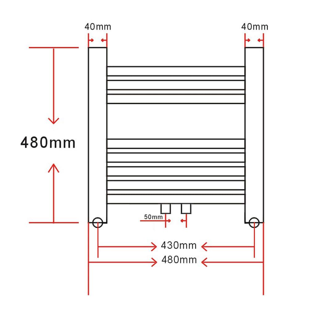 vidaXL Radiator/handdoekenrek recht 480x480 mm