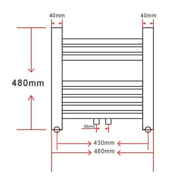 Håndklædetørrer til badeværelset centralvarme lige 480 x 480 mm[8/8]