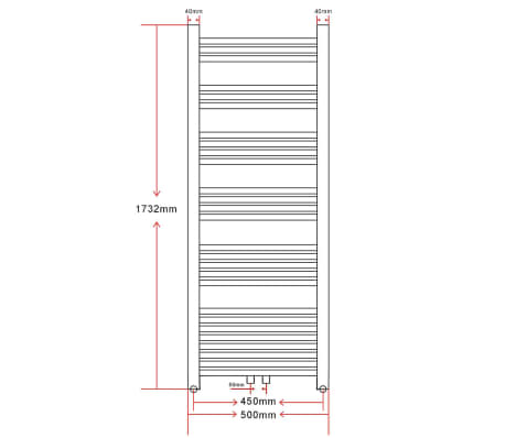 Bathroom Central Heating Towel Rail Radiator Straight 500 x 1732 mm[8/8]