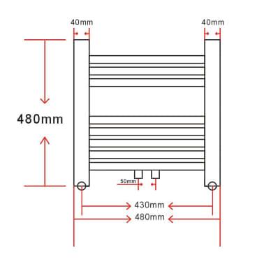 Radiatorius, rankšluosčių džiovykla vonios kambariui, 480 x 480 mm[9/9]
