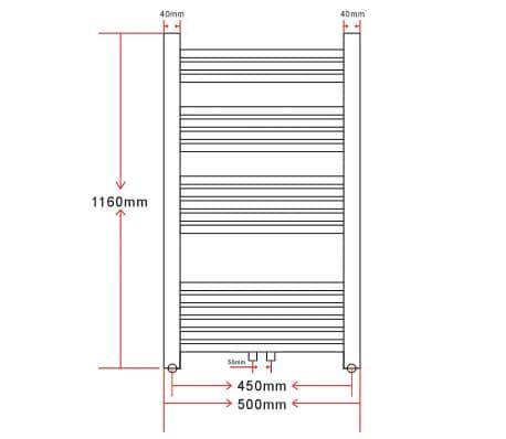 Radiatorius, rankšluosčių džiovykla vonios kambariui, 500 x 1160 mm[9/9]