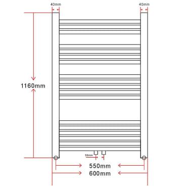 Radiatorius, rankšluosčių džiovykla vonios kambariui, 600 x 1160 mm[9/9]