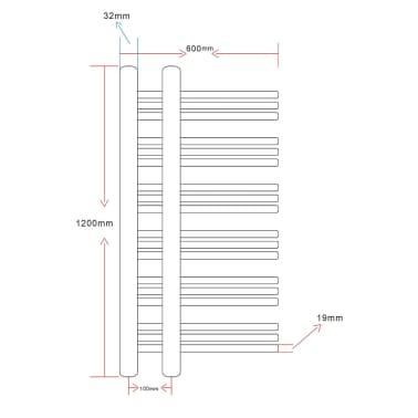 Kylpyhuoneen Keskuslämmitys Pyyheteline E-muoto 600 x 1200 mm[8/8]