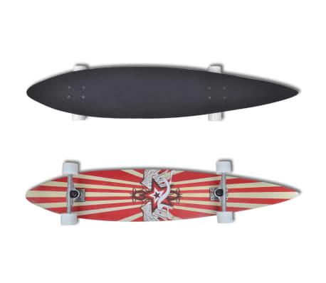 Longboard Skateboard Star 117 cm 9 strati in acero 22,5 cm truck rosso