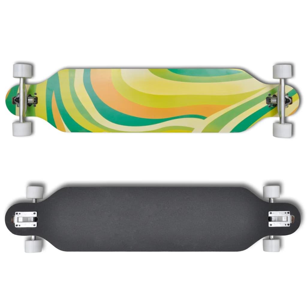 """Longboard 107 cm skateboard, 9 vrstvý javor, 9"""" ALU truck, zelený"""