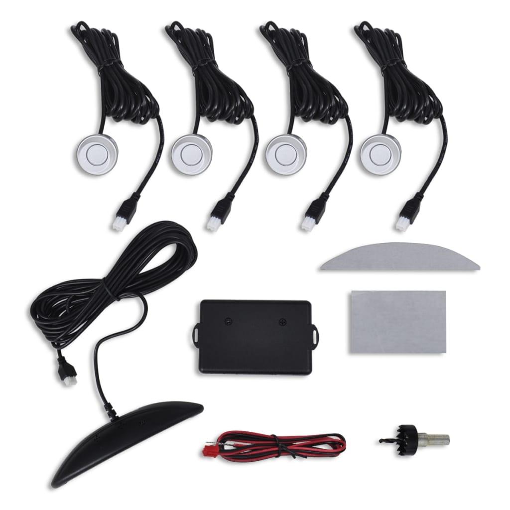 Sistem de siguranță parcare auto cu 4 senzori argintiu imagine vidaxl.ro