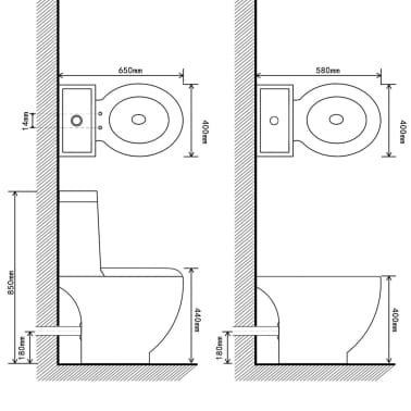 vidaXL Juego de váter WC y bidé de cerámica blanca[13/13]