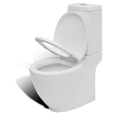 vidaXL Juego de váter WC y bidé de cerámica blanca[7/13]