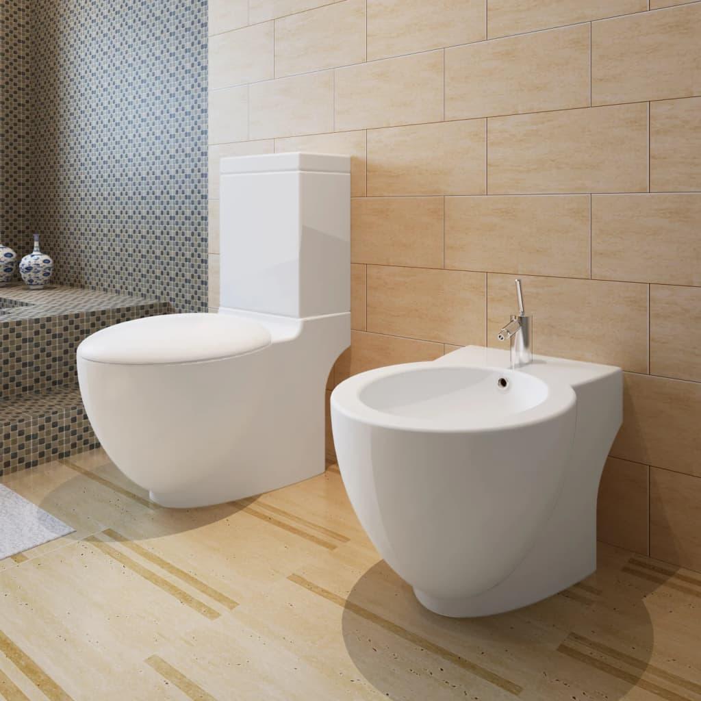 Set vas de toaletă și bideu din ceramică, alb poza 2021 vidaXL