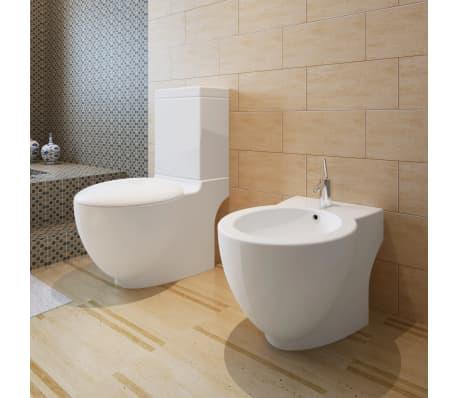 Vidaxl Stand Toilet Bidet Set White Ceramic Bathroom Wc Furniture