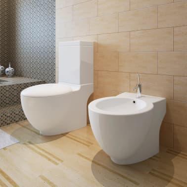 vidaXL Juego de váter WC y bidé de cerámica blanca[1/13]