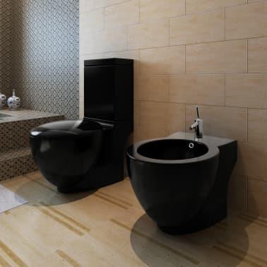 Čierna stojaca keramická toaleta a bidet[12/13]