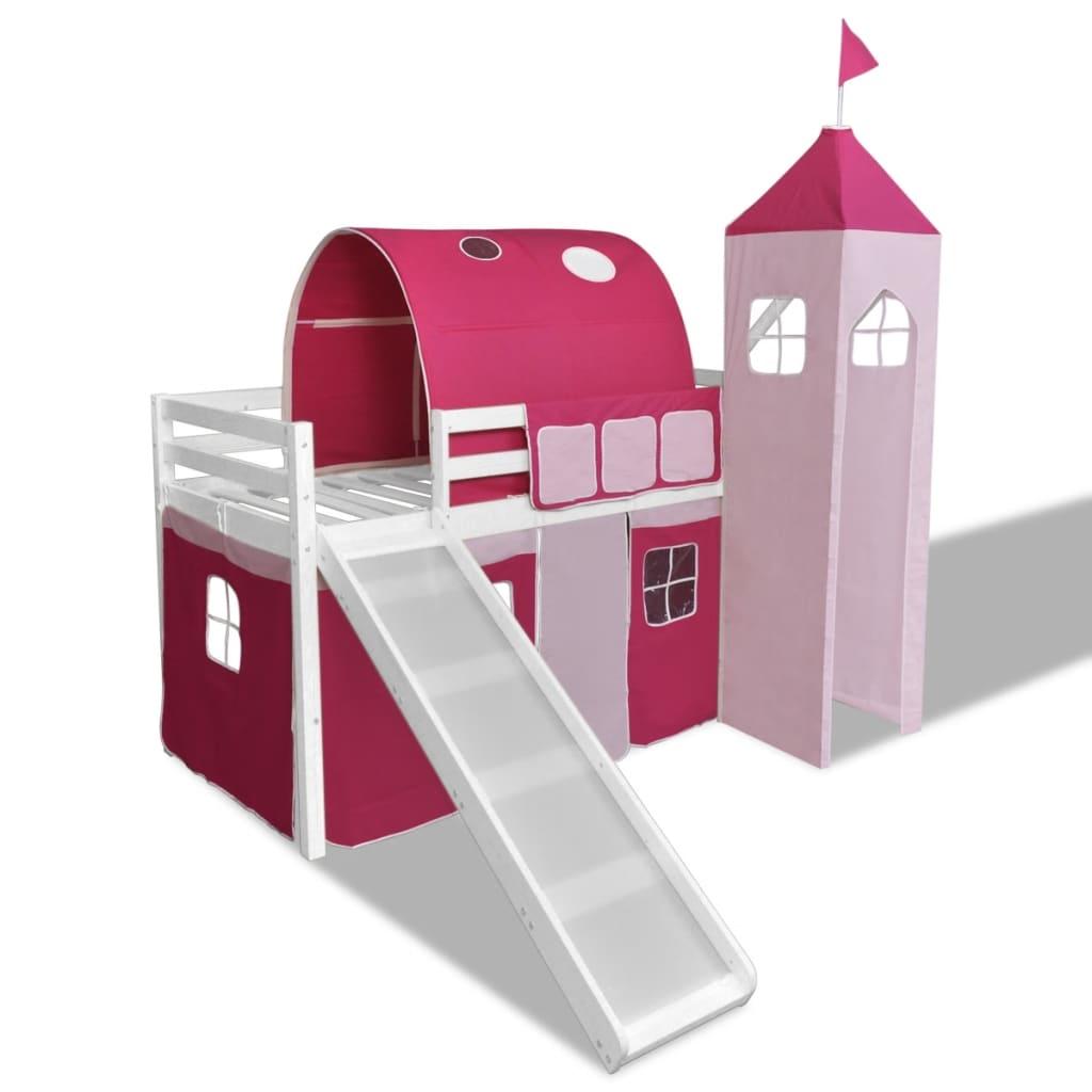 Pat supraetajat Prințesă roz cu scară laterală model castel vidaxl.ro