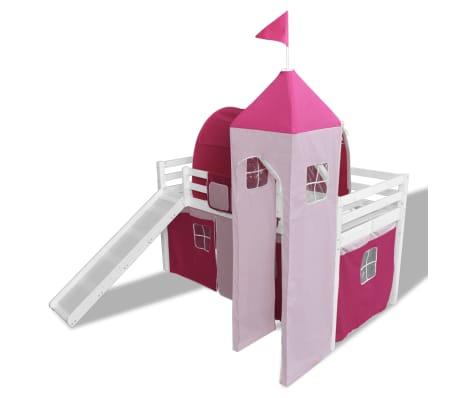 acheter lit mezzanine rose ch teau princesse avec chelle toboggan pas cher. Black Bedroom Furniture Sets. Home Design Ideas