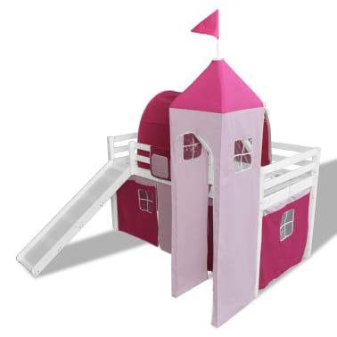 Lit mezzanine rose ch teau princesse avec chelle toboggan - Lit chateau de princesse avec toboggan ...