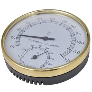 Sauna accessoires: emmer + opgietlepel, zandloper, thermo-vochtmeter[5/5]