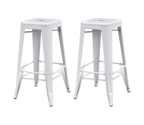 vidaXL Bar Stools 2 pcs Square White[2/5]