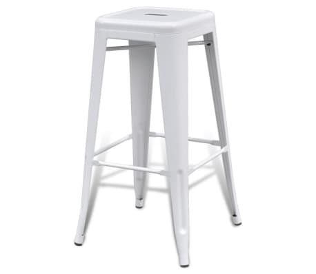 vidaXL Bar Stools 2 pcs Square White[4/5]