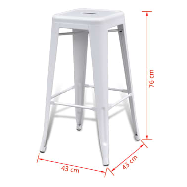 vidaXL Bar Stools 2 pcs Square White[5/5]
