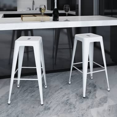 vidaXL Bar Stools 2 pcs Square White[1/5]