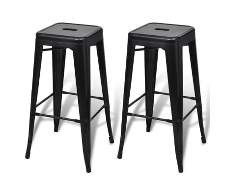 vidaXL Bar Stools 2 pcs Square Black[2/5]