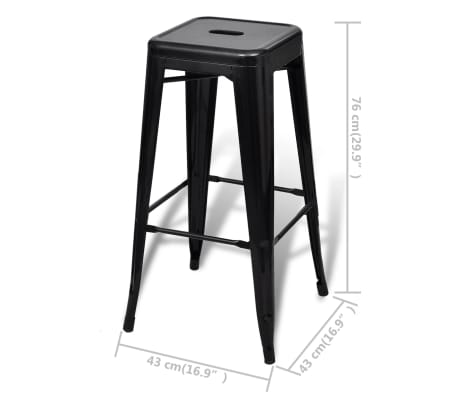 vidaXL Bar Stools 2 pcs Square Black[5/5]