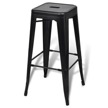 vidaXL Bar Stools 2 pcs Square Black[4/5]