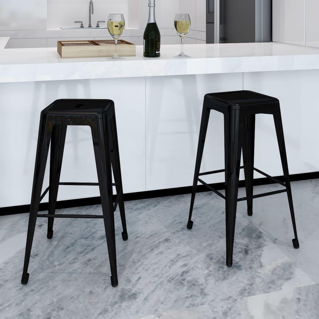 vidaXL Scaune de bar, 2 buc., negru, oțel poza 2021 vidaXL