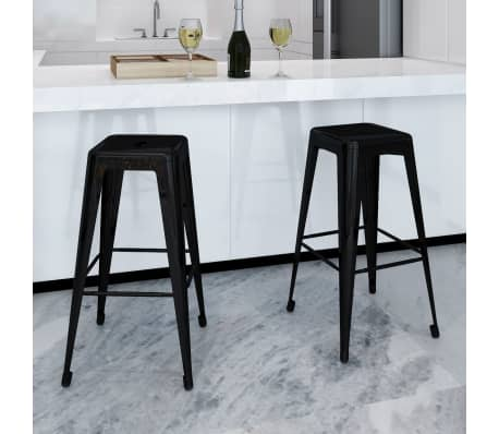 vidaXL Bar Stools 2 pcs Square Black[1/5]