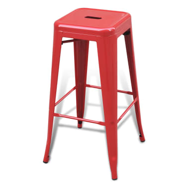 vidaXL Bar Stools 2 pcs Square Red[4/5]