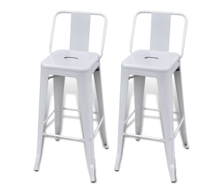 vidaXL Bar Stools 2 pcs White Steel[2/5]