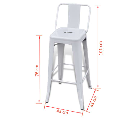 vidaXL Bar Stools 2 pcs White Steel[5/5]