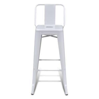 vidaXL Bar Stools 2 pcs White Steel[3/5]