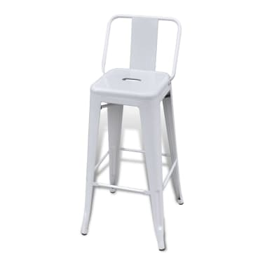vidaXL Bar Stools 2 pcs White Steel[4/5]
