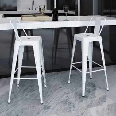 vidaXL Bar Stools 2 pcs White Steel[1/5]