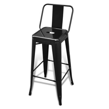 vidaXL Barske Stolice 2 kom Četvrtaste Crne[3/5]
